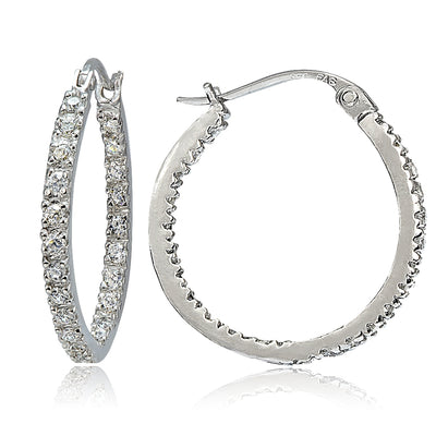 Sterling Silver Cubic Zirconia Inside Out 20mm Round Hoop Earrings
