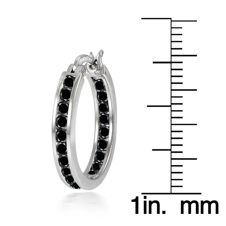 Sterling Silver Black Cubic Zirconia Inside Out Channel-Set 20mm Round Hoop Earrings