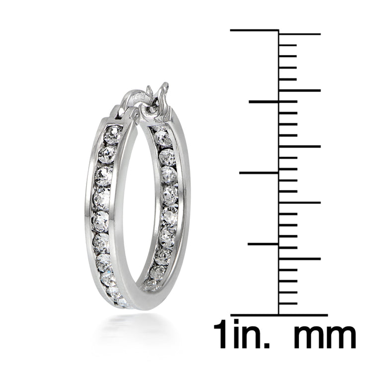 Sterling Silver Cubic Zirconia Inside Out Channel-Set 20mm Round Hoop Earrings