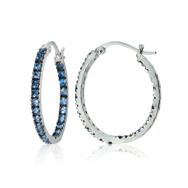 Sterling Silver Nano Created London Blue Topaz Stone Inside Out 20mm Oval Hoop Earrings