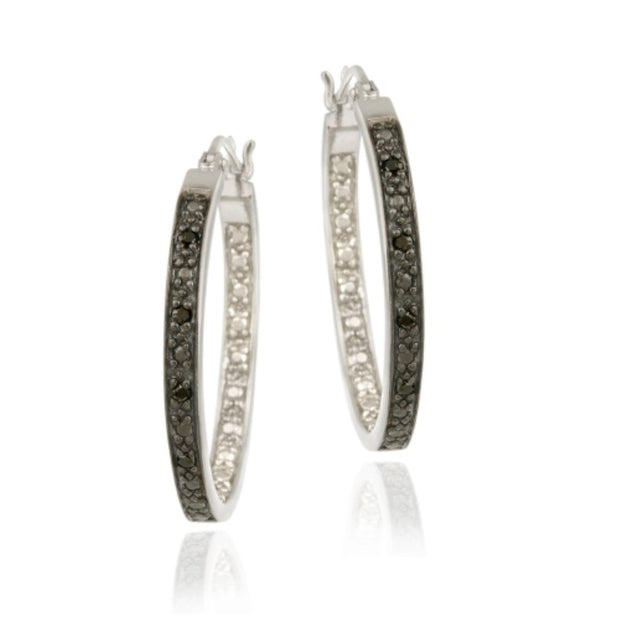 Sterling Silver .10ct. tdw Black Diamond 25mm Hoop Earrings