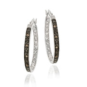 Sterling Silver .10ct. tdw Champagne Diamond 25mm Hoop Earrings