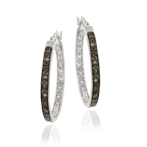 Sterling Silver .10ct. tdw Champagne Diamond 22mm Hoop Earrings