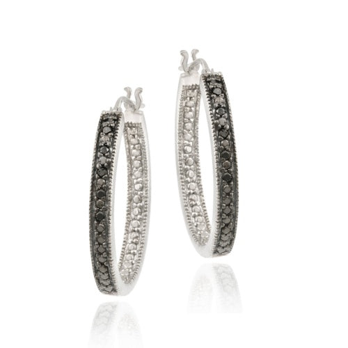 Sterling Silver .10ct. tdw Black Diamond 25mm Oval Hoop Earrings