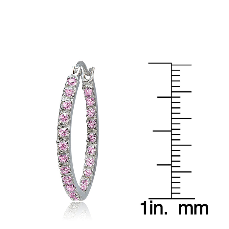 Sterling Silver Pink Cubic Zirconia Inside Out 25mm Round Hoop Earrings