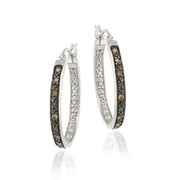 Sterling Silver .10ct. tdw Champagne Diamond 25mm Oval Hoop Earrings