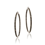 Sterling Silver 3/4ct. tdw Champagne Diamond Inside Out Hoop Earrings