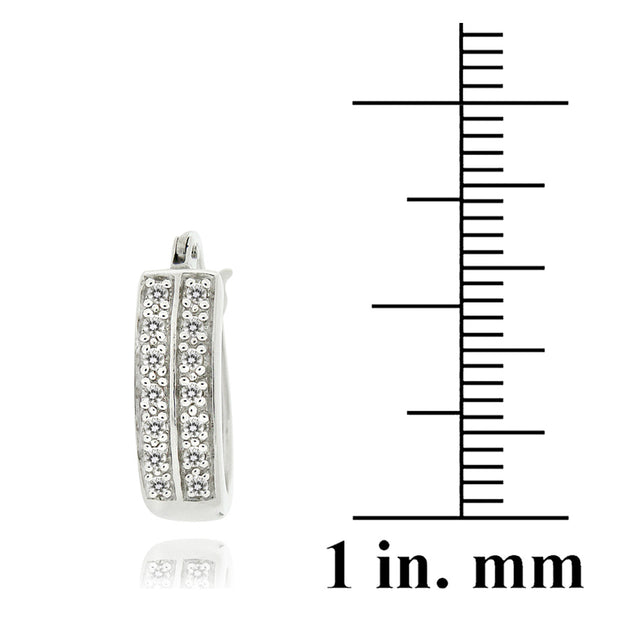 Sterling Silver 1/4 ct Diamond 18mm Oval Hoop Earring