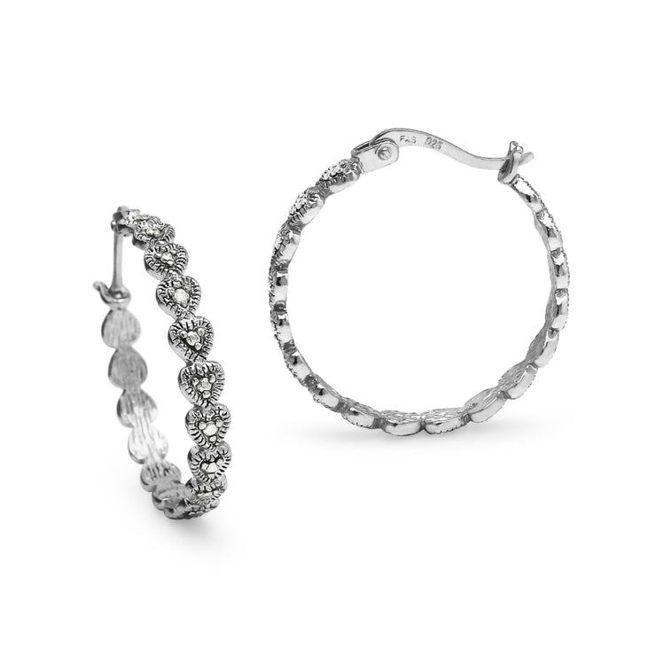 Sterling Silver Round Diamond Accent 25mm Round Hoop Earrings, JK-I3