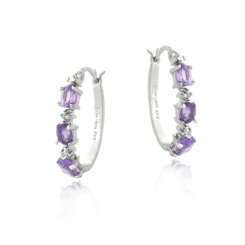 Sterling Silver Amethyst & Diamond Accent  Oval Hoop Earrings