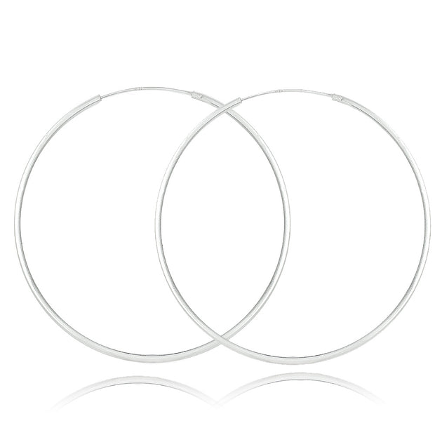 Sterling Silver 50mm Round Endless Hoop Earrings