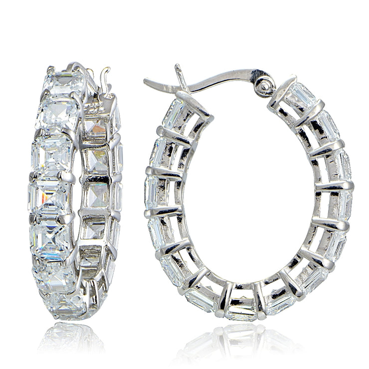 Sterling Silver 10ct Asscher Cut CZ Oval Hoop Earrings