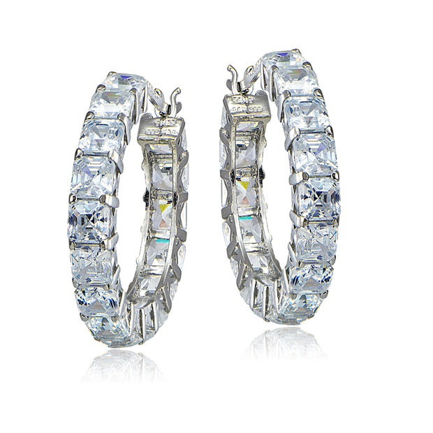 Sterling Silver 12ct Asscher Cut CZ Hoop Earrings
