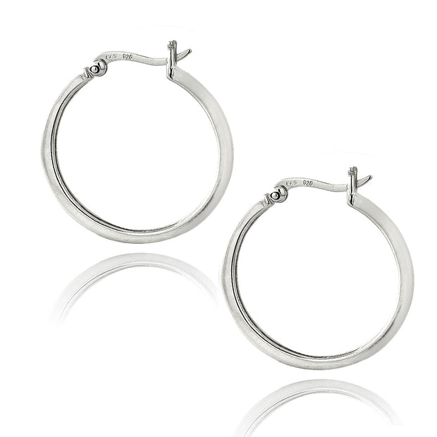 Sterling Silver Garnet 25mm Hoop Earrings
