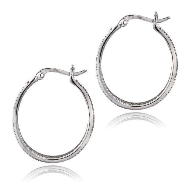 Sterling Silver Diamond Accent Stripe Oval Hoop Earrings