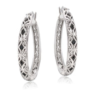 Sterling Silver Black Diamond Accent Filigree Hoop Earrings