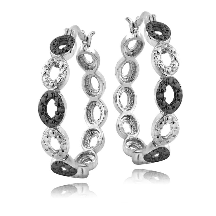 Sterling Silver Black Diamond Accent Marquise Link Hoop Earrings