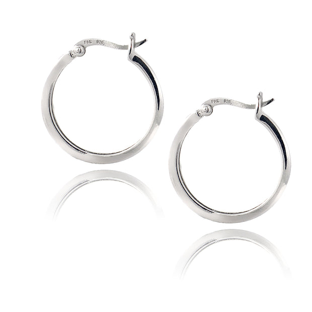 Sterling Silver 1/4 ct Blue Diamond 20mm Hoop Earrings