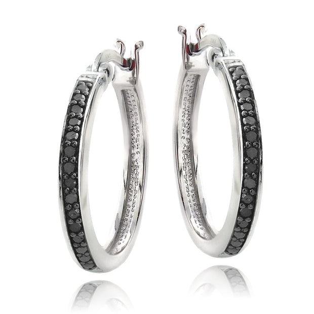 Sterling Silver 1/4 ct Black Diamond 20mm Hoop Earrings