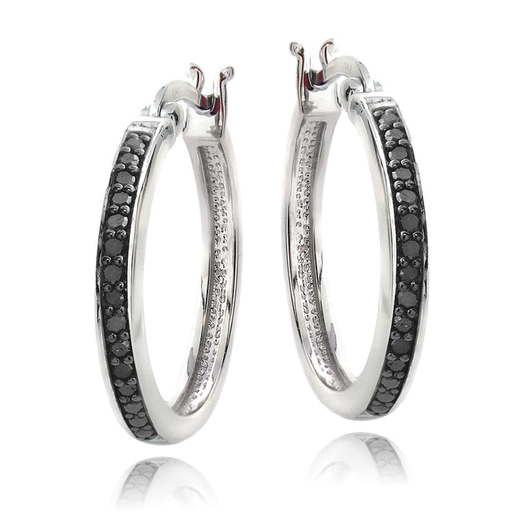 Sterling Silver 1/4ct Black Diamond 20mm Hoop Earrings