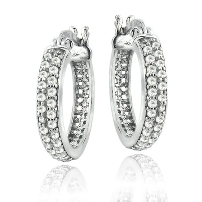 Sterling Silver 0.50 CTTW Natural Diamond Hoop Earrings