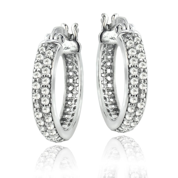 Sterling Silver 1/2 ct tdw Natural Diamond Hoop Earrings