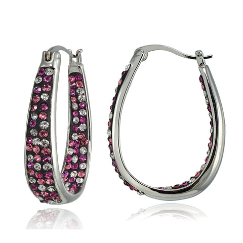 Silver Tone Multi-Color Bright Pink Crystal Ombre Inside-Out Oval Hoop Earrings
