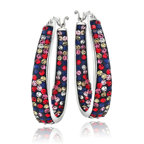 Silver Tone Multi-Color Bright Crystal Ombre Inside-Out Oval Hoop Earrings