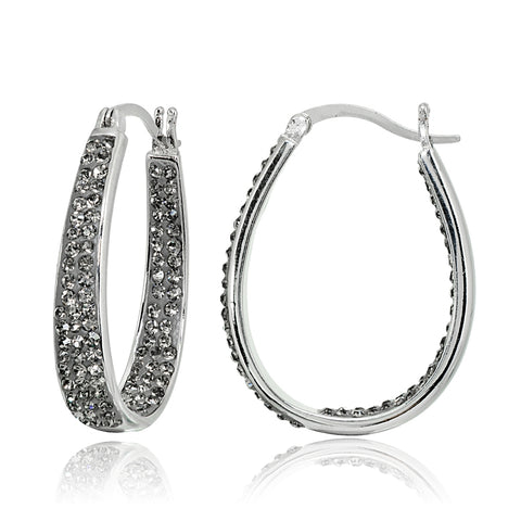 Silver Tone Gray Crystal Inside-Out Oval Hoop Earrings