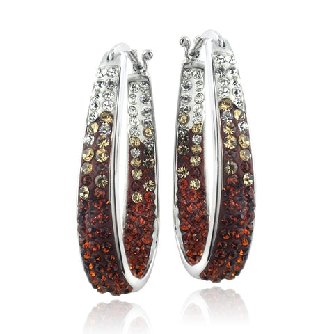 Silver Tone Orange Crystal Ombre Inside-Out Oval Hoop Earrings