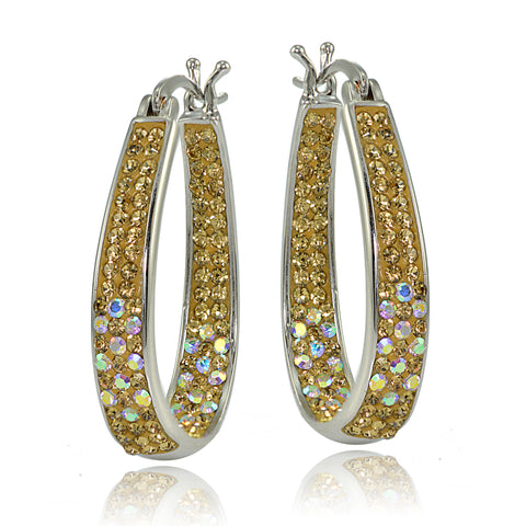 Silver Tone Crystal Ombre Inside-Out Oval Hoop Earrings