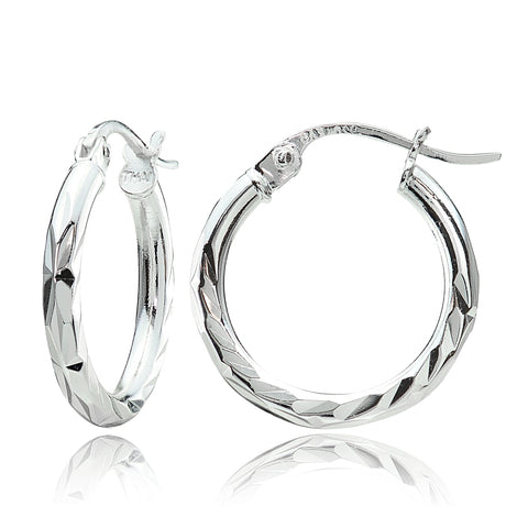 Sterling Silver 2mm Diamond Cut High Polished Round Hoop Earrings, 15mm