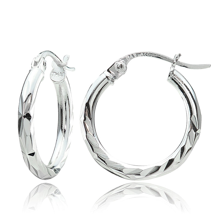 Sterling Silver 2mm Diamond Cut High Polished Round Hoop Earrings, 20mm