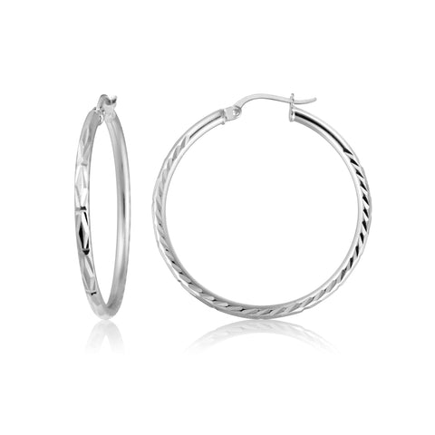 Sterling Silver 2mm Diamond Cut High Polished Round Hoop Earrings, 25mm