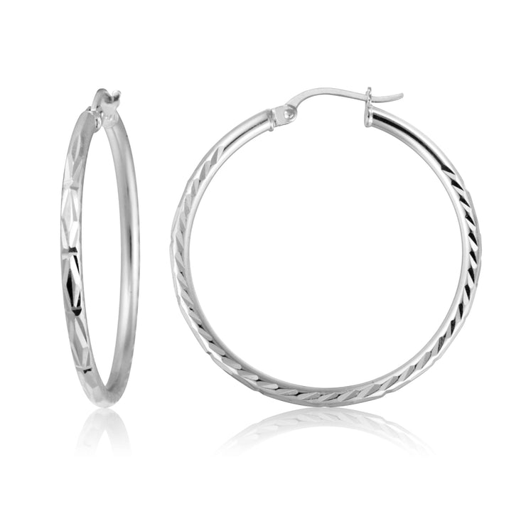 Sterling Silver 2mm Diamond Cut High Polished Round Hoop Earrings, 30mm