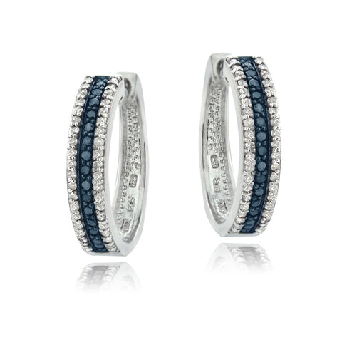 Sterling Silver 1.1ct TDW  Blue & White Diamond Hoop Earrings