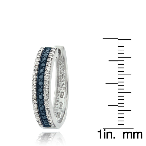 Sterling Silver 1.1 ct tdw  Blue & White Diamond Hoop Earrings