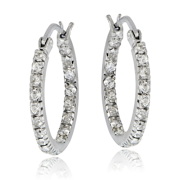 Sterling Silver 17mm Inside Out Hoop Earrings with Swarovski Elements