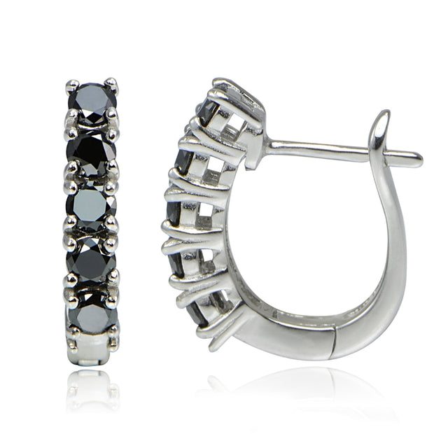 Sterling Silver 1.25 ct tdw Black Diamond Hoop Earrings