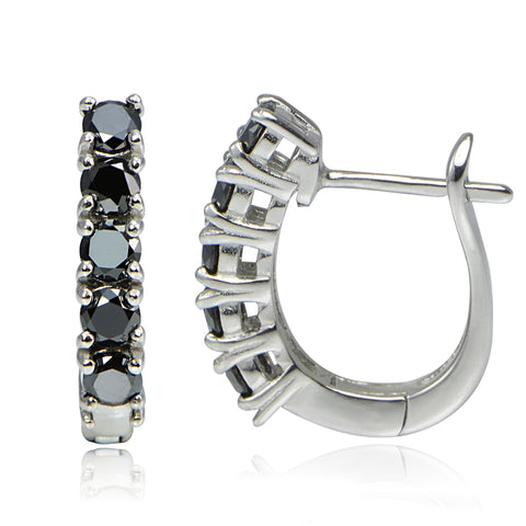 Sterling Silver 1.25ct TDW Black Diamond Hoop Earrings