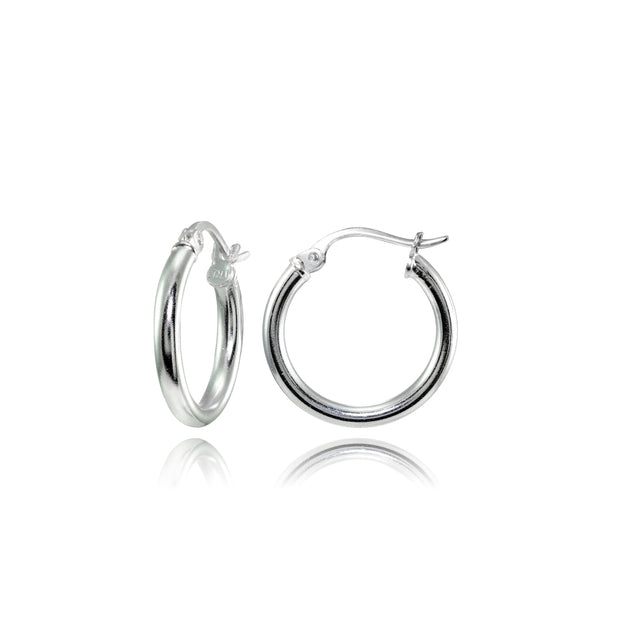 Sterling Silver High Polished Round Hoop Earrings, 15mm