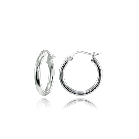 Sterling Silver 2mm High Polished Round Hoop Earrings, 15mm