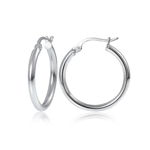 Sterling Silver 2mm High Polished Round Hoop Earrings, 20mm