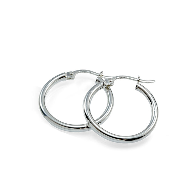 Sterling Silver High Polished Round Hoop Earrings, 20mm