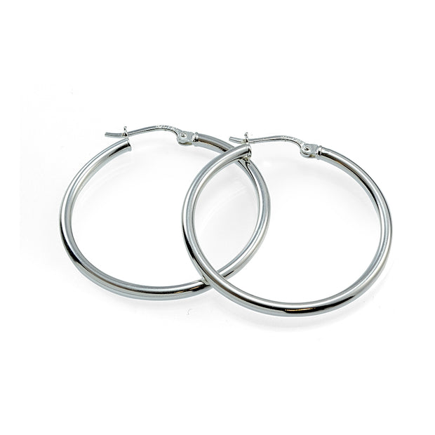 Sterling Silver High Polished Round Hoop Earrings, 25mm