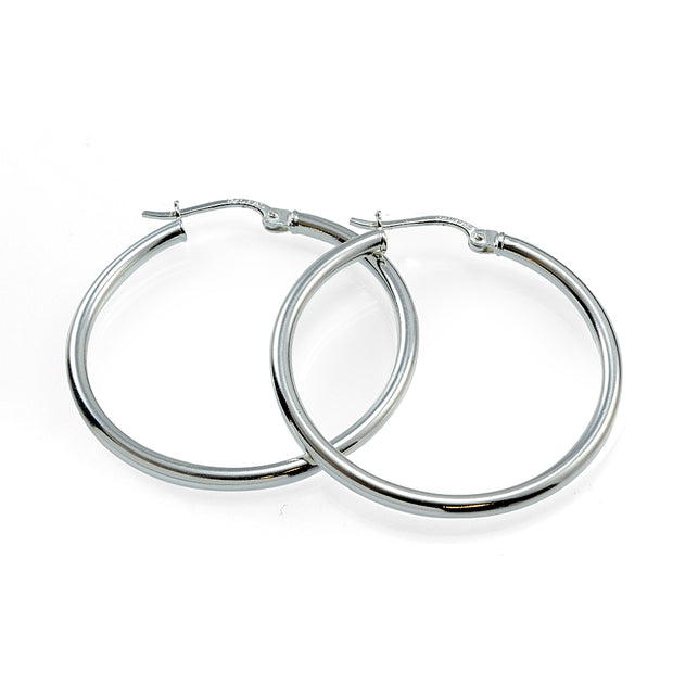 Sterling Silver High Polished Round Hoop Earrings, 30mm