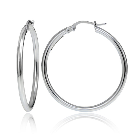 Sterling Silver 2mm High Polished Round Hoop Earrings, 40mm