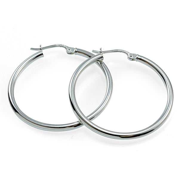 Sterling Silver High Polished Round Hoop Earrings, 40mm