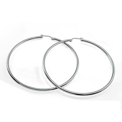 Sterling Silver High Polished Round Hoop Earrings, 45mm
