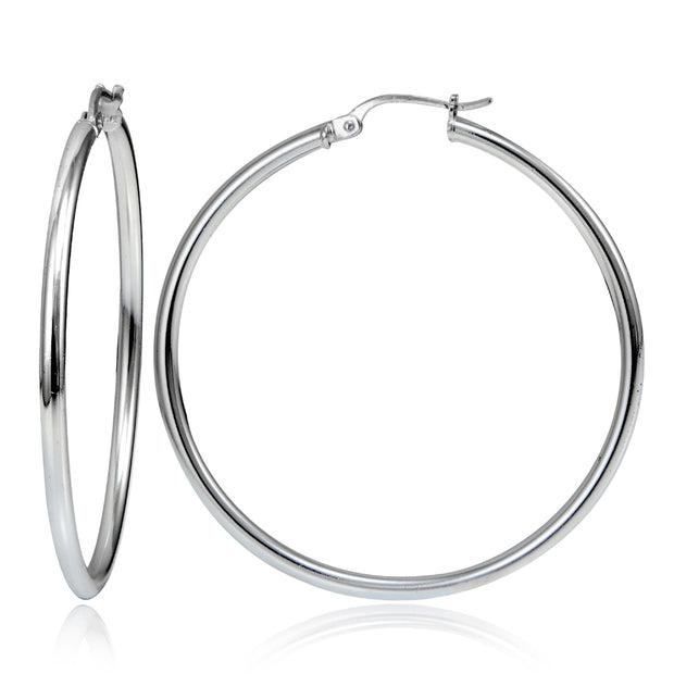 Sterling Silver High Polished Round Hoop Earrings, 50mm
